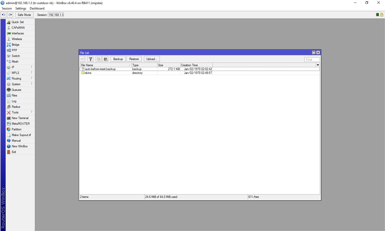 Mikrotik Upgrade Firmware Terminal